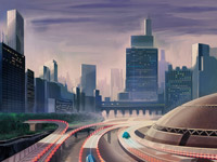 City, Skyline, Future, Transport, Traffic, Buildings, Skyscraper, Retro, Sci-Fi, Science Fiction, Road, Hiway, Highway, Vehicle, Digital Illustration, Horizon