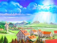 Town, Fairy, Land, Fairyland, Community, Castle, Houses, Village, Digital Illustration, Environment