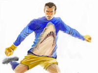 Goalkeeper, Football, Ball, Shark, Running, Sportsman, Male, Person, Character, Digital Illustration