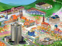 Goettinge, Town, City, Plan, Fly, Townscape, Panoramic, Christmas, Winter, University, Libraty, Digital Illustration