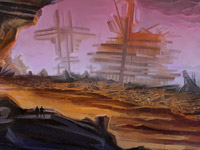 Postapokaliptic, Landscape, Ruins, Ship, Wreckage, Red, Dark, Rocks, Stones, Digital Illustration, Environment Concept