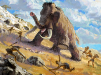 Mammoth, mammuth, Elephas primigenius, hunting, prehistorical, ancient, paleolithic, people, tribal, stone age, primitive, primeval, aboriginal