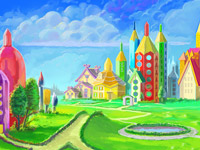 Pencil, Drawing, Paintinig, Learning, Town, Fairy, Land, Community, Creativity, Castle, Houses, Village, Horse, Pen, Digital Illustration, Environment Concept