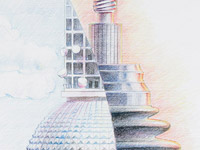 Berliner Turm, Berlin Tower, , Spare Parts, Auto, Car, Pencil Drawing, Blue, Violet, Sketch