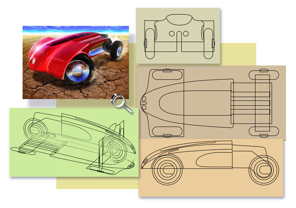 Project Visualisation Example, Desert Rider, Auto, Car, Sport Car, Concept Auto, 3d/2D Rendering, Red, Chrome, Desert