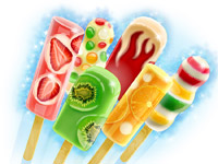 Ice, Icecream, Colour, Color, Sweet, Candy, Red, Caramel, Green, Fruit, Colourful, Colorful, Fresh, Product, Digital Illustration, Illustration for Packaging, Attractive, Advertising