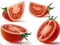 Tomato, Slice, Branch, Leave, Red, Green, Juice, Fresh, Illustration, Digital, Packaging, Attractive, Advertising