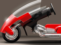 roller, scooter, motoroller, bike, motorcycle, red, concept, vehicle, digital illustration, transport, wheels