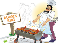 barbecue, barbeque, bbq, adult, character, male, person, cook, cooking, roasting, sausage, food, grill, grilled, grilling, appetite, delicious, snack, spicy, tasty, bake, ketchup, burn, cartoon, magic, wonder, wizard, dinner, eat, fast, figure, fire, fresh, handsome, hot, meal, meat, mustard, outdoor, party, picnic, recipe, smoke, tray
