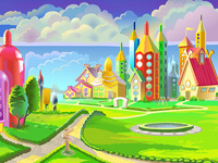 Pencil, drawing, paintinig, inspiration, learning, town, fairy, land, fairyland, community, creativity, castle, houses, village, pen, digital lllustration, environment concept