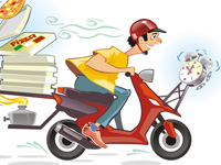 Pizza delivery hot and in time - friendly caricature, pizza, service, shipping, urgent, courier, deliver, delivery, term, time, driver, deadline, hurry, quick, speed, bicycle, bike, moped, motor, motorbike, motorroller, transportation, clock, alarm, box, bread, cartoon, character, cheese, fast, fire, food, fun, funny, humor, humorous, italian, job, lose, man, occupation, person, primus, roller, smoke, student, urban, vehicle, warming, wath, wheel, win, worker