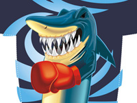 Shark, boxing, teeth, tricot, sport, angry, cartoon, funny, humorous, vector illustration, clipart images